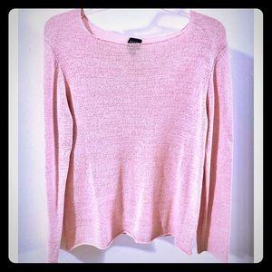Eileen Fisher Ballet Neck Silk Blend Sweater Med